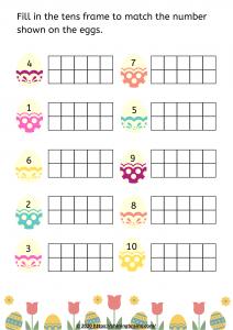 Preschool Easter worksheets | tens frame