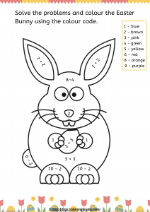 Easter colour the Easter bunny worksheet