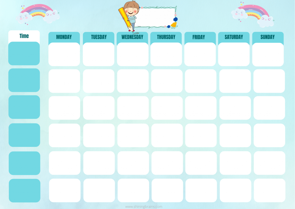 timetable for kids   weekly planner for kids   free template