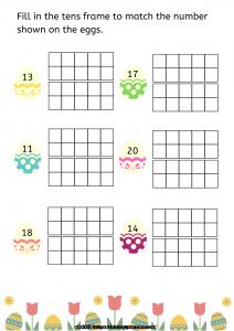 Easter worksheets | ten frames