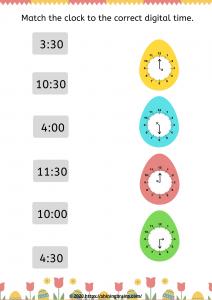 Easter digital time worksheet