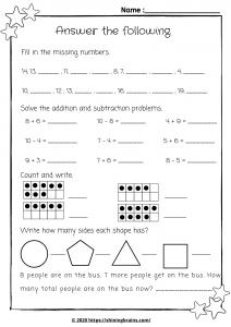 year1 math worksheet | mental maths