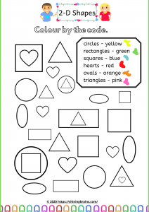 colour by code 2d shapes worksheets