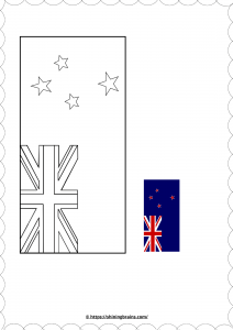 Anzac day activity for kids   New Zealand Flag colouring page