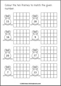 twenty frames worksheets | number bonds to 20