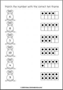 match with correct ten frames worksheet