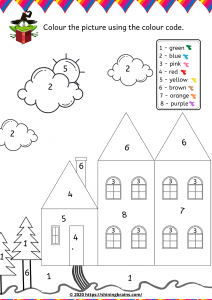 Kindergarten colour by number worksheet Activity