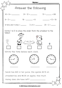 year1 and year 2 worksheets