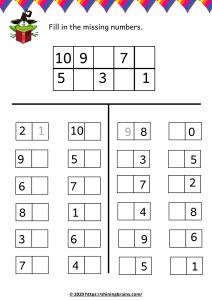 missing number worksheet Activity