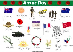 Anzac day word mat
