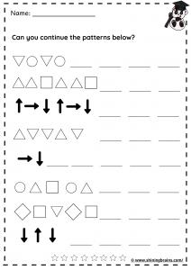 shapes pattern worksheet | patterns worksheet