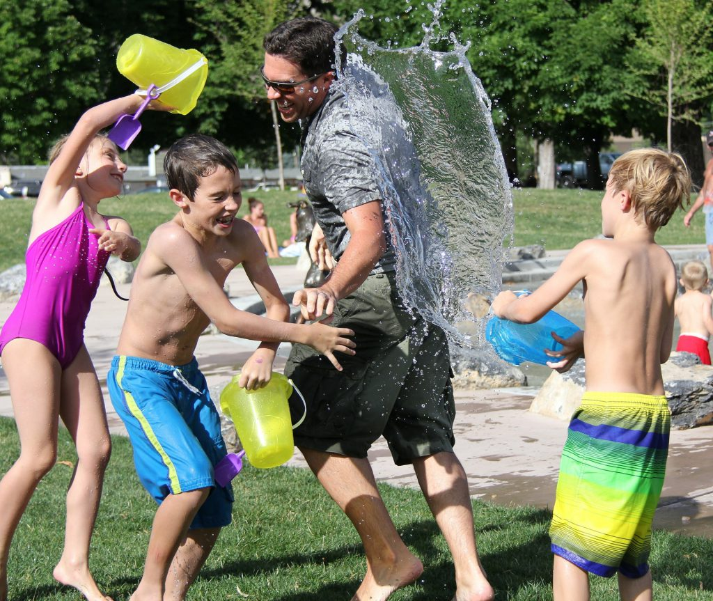 family activity - water fight