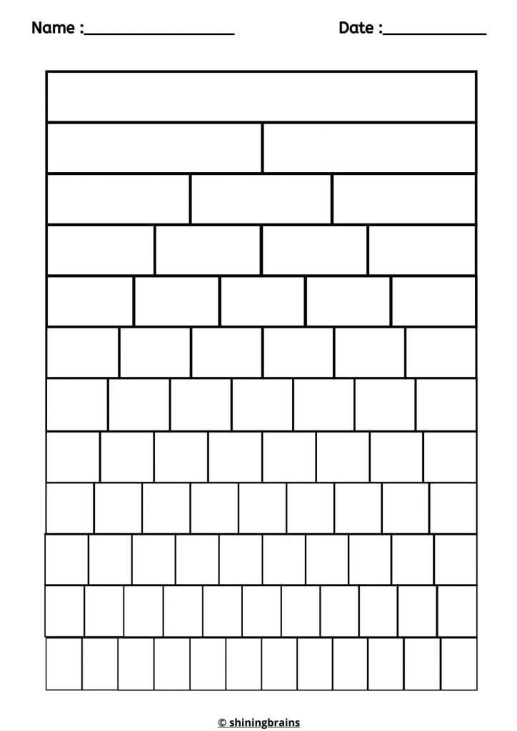 Fractions Wall template blank