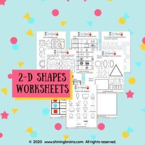 2D shapes worksheets for kids