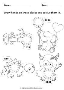 clock worksheets    preschool clock printable   clock activities for kindergarten