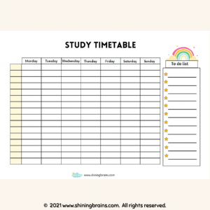 timetable template for students