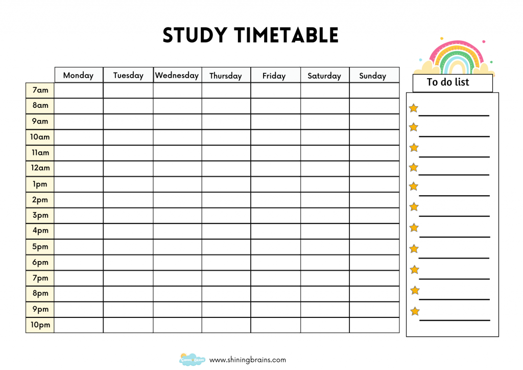 Timetable Template - best study timetable printable