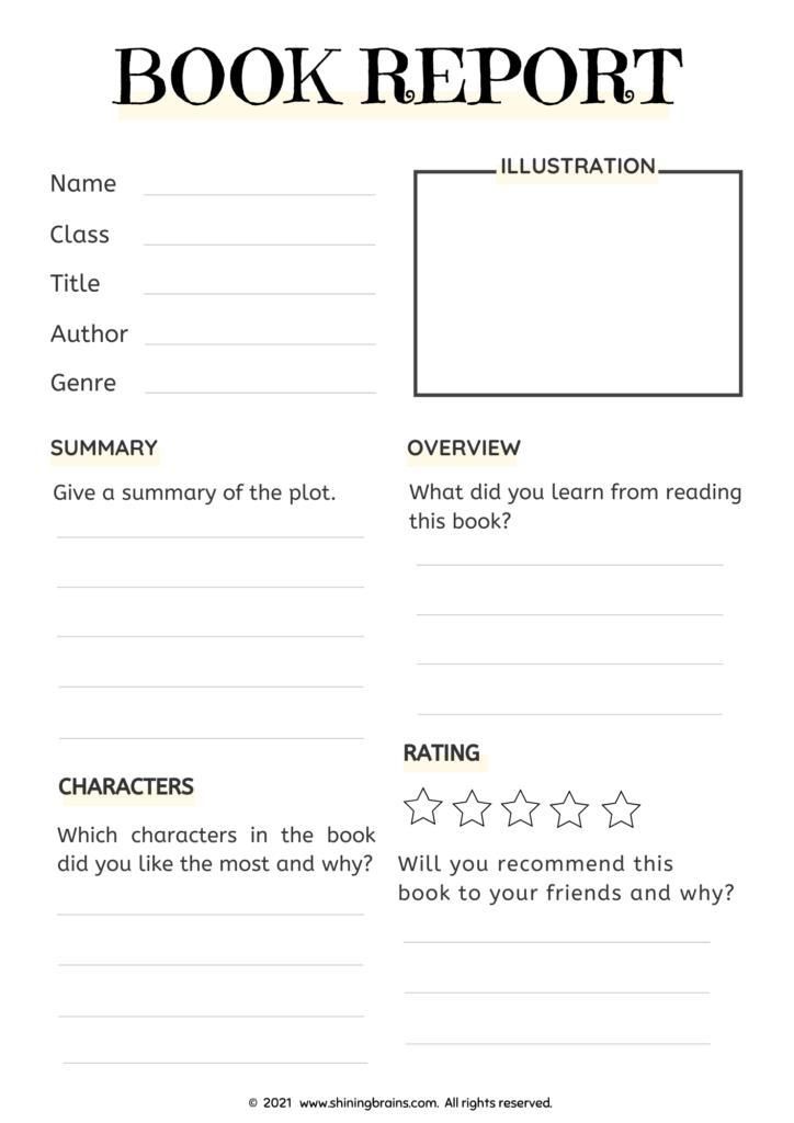 book report template for ks1, ks2, ks3 kids   book review