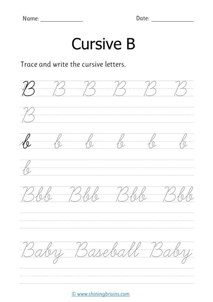 Cursive b | b letter handwriting practice worksheet | small and capital b in cursive writing