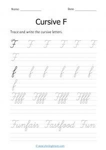cursive f | letter f in cursive | Cursive writing Worksheet