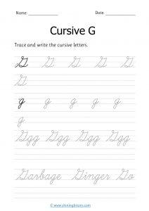 cursive g | letter g in cursive | Cursive writing Worksheet