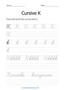 cursive k | letter k in cursive | Cursive writing Worksheet