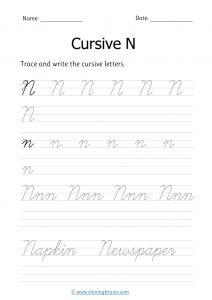 cursive n | letter n in cursive | Cursive writing Worksheet