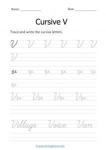 cursive v | letter v in cursive | Cursive writing Worksheet
