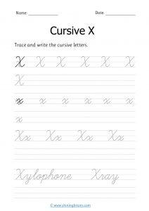 cursive x | letter x in cursive | Cursive writing Worksheet
