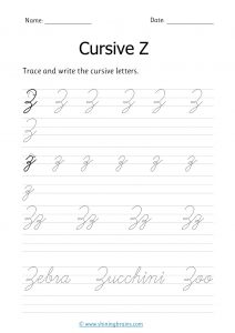 cursive z | letter z in cursive | Cursive writing Worksheet