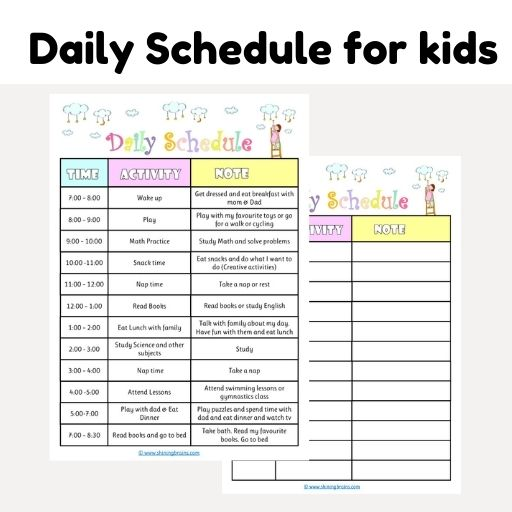 daily schedule for kids   kids schedule template   editable daily planner