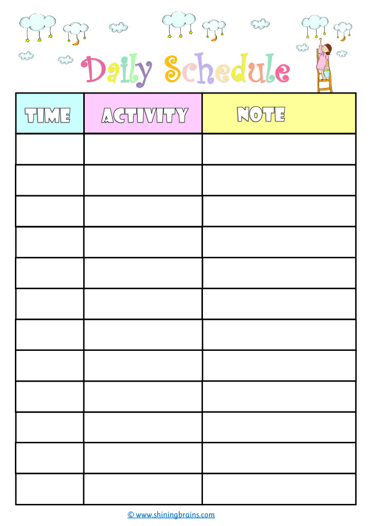 daily schedule for kids | cute timetable template | free kids schedule template