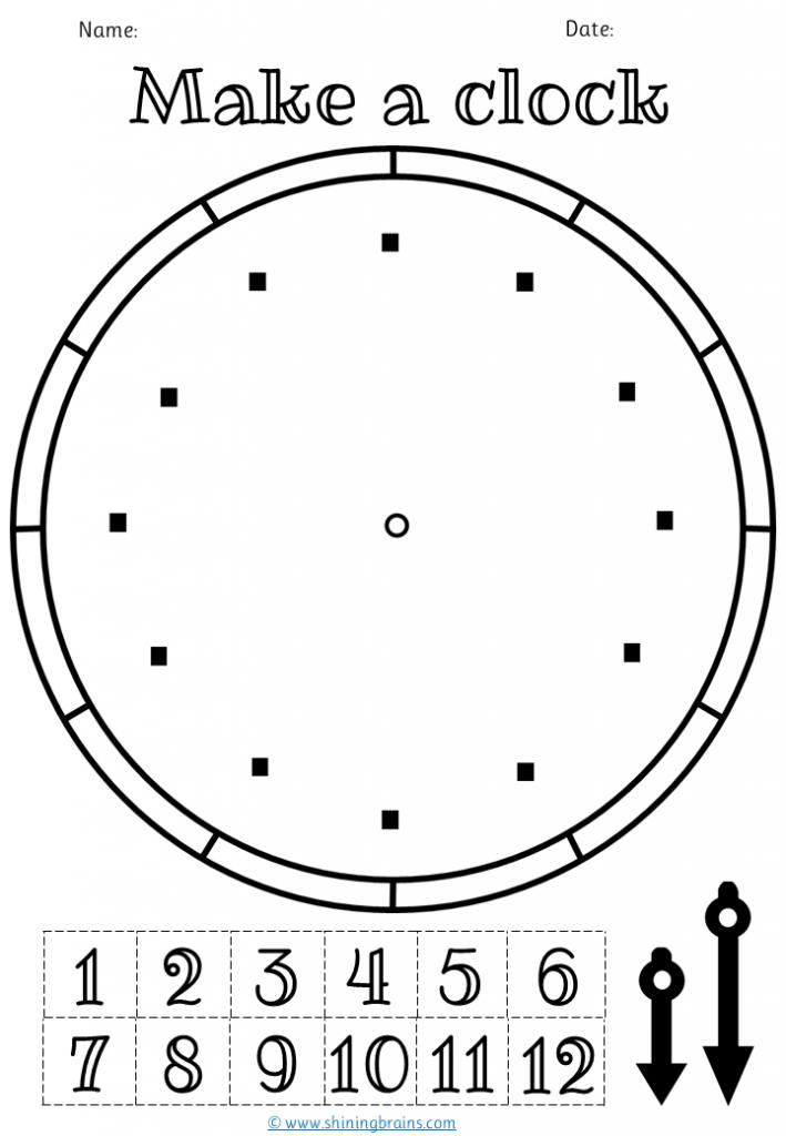 Make a clock Activity | Free printable Template Worksheet | preschool clock printable