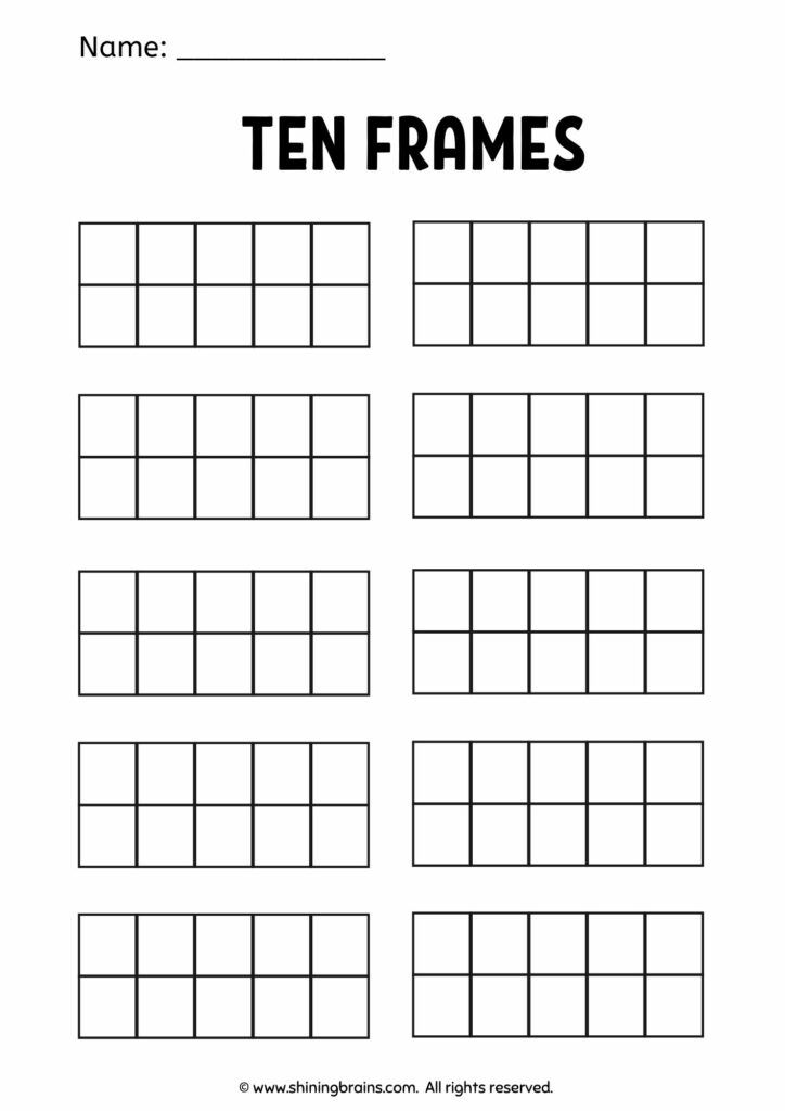 Blank ten frame worksheets | Free blank tens counters | 10s frame