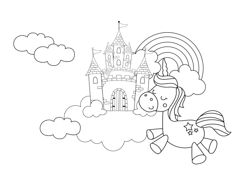 cute unicorn colouring printable for kids