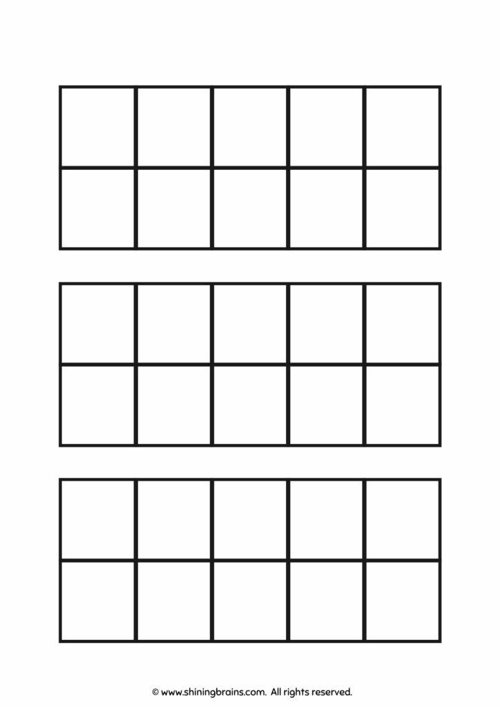 Blank ten frame worksheet | ten frames counters template