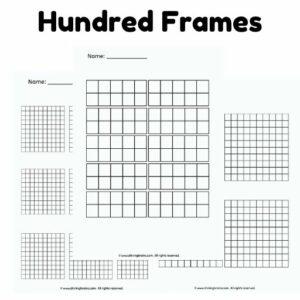 hundred frames | 10 ten frames worksheets | number bonds to 100