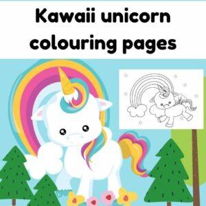 kawaii unicorn colouring page free printable