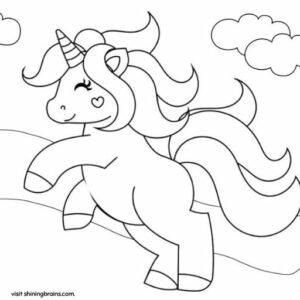 Unicorn coloring sheet for kids