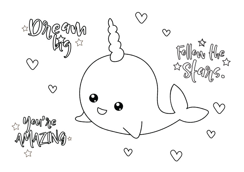narwhal colouring page